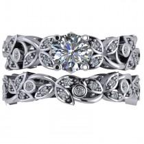 Diamond Vine Leaf Style Floral Bridal Set 14k White Gold (1.57ct)