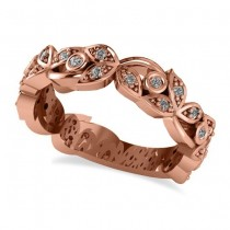 Diamond Vine Leaf Style Floral Wedding Band 14k Rose Gold (0.27ct)