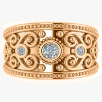 Diamond Swirl Bezel Set Byzantine Ring 14k Rose Gold (0.21ct)