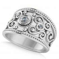 Diamond Swirl Bezel Set Byzantine Ring 14k White Gold (0.21ct)
