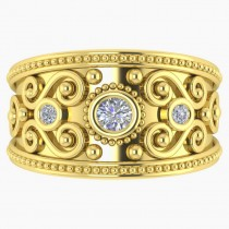 Diamond Swirl Bezel Set Byzantine Ring 14k Yellow Gold (0.21ct)