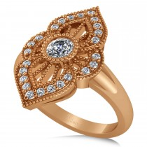 Diamond Antique Style Milgrain Edge Ring 14k Rose Gold (0.49ct)