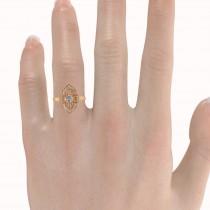 Diamond Antique Style Milgrain Edge Ring 14k Rose Gold (0.49ct)