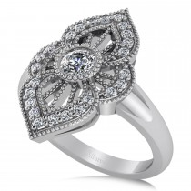 Diamond Antique Milgrain Ring 14k White Gold (0.49ct)
