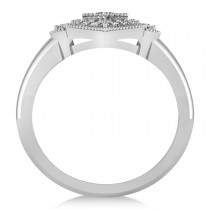 Diamond Antique Style Milgrain Edge Ring 14k White Gold (0.49ct)