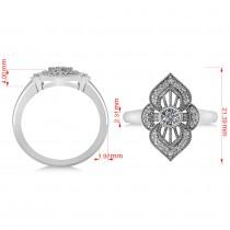 Diamond Antique Style Milgrain Edge Ring 14k White Gold (0.49ct)