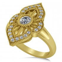 Diamond Antique Style Milgrain Edge Ring 14k Yellow Gold (0.49ct)