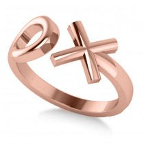 "Ladies' Novelty Hugs and Kisses ""XO"" Fashion Ring in 14k Rose Gold"