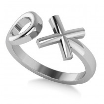 "Ladies' Novelty Hugs and Kisses ""XO"" Fashion Ring in 14k White Gold"