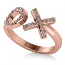 Ladies Diamond Hugs & Kisses XO Fashion Ring 14k Rose Gold (0.27ct)