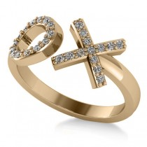 Ladies Diamond Hugs & Kisses XO Fashion Ring 14k Yellow Gold (0.27ct)