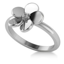 Diamond Flower Ladies Fashion Ring 14k White Gold (0.03ct)