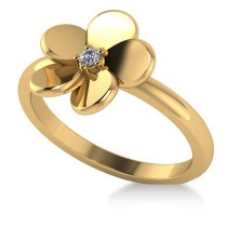 Diamond Flower Ladies Fashion Ring 14k Yellow Gold (0.03ct)