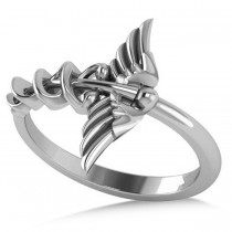 Caduceus Medical Symbol Novelty Ladies Ring 14k White Gold