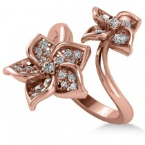 Diamond Double Flower Bypass Ladies Ring 14k Rose Gold (0.48ct)