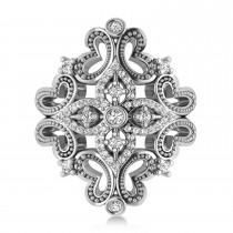 Ladies Diamond Antique Novelty Cigar Ring 14k White Gold (0.44 ctw)