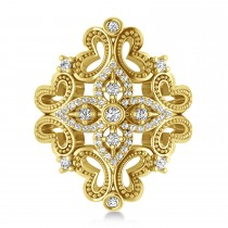 Ladies Diamond Antique Novelty Cigar Ring 14k Yellow Gold (0.44 ctw)