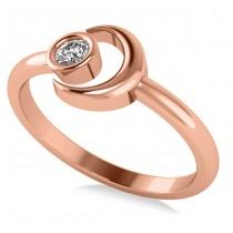 Diamond Crescent Moon Fashion Ring 14k Rose Gold (0.10ct)