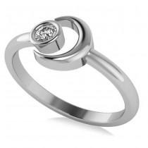 Diamond Crescent Moon Fashion Ring 14k White Gold (0.10ct)