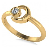 Diamond Crescent Moon Fashion Ring 14k Yellow Gold (0.10ct)