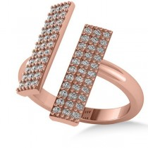 Diamond Bar Shared Prong Novelty Ladies Ring 14k Rose Gold (0.66ct)