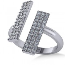 Diamond Bar Shared Prong Novelty Ladies Ring 14k White Gold (0.66ct)