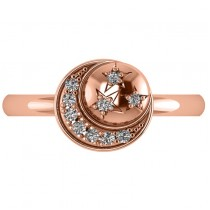 Crescent Moon and Stars Diamond Ring 14k Rose Gold (0.14ct)