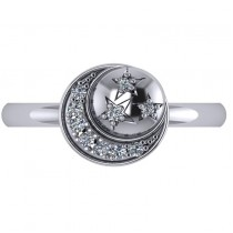 Crescent Moon and Stars Diamond Ring 14k White Gold (0.14ct)