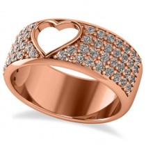 Open Heart Wide Band Pave Diamond Ring 14k Rose Gold (1.00ct)