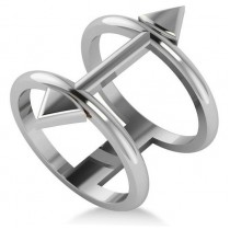 Cupid's Arrow Abstract Fashion Ring Plain Metal 14k White Gold