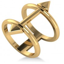 Cupid's Arrow Abstract Fashion Ring Plain Metal 14k Yellow Gold
