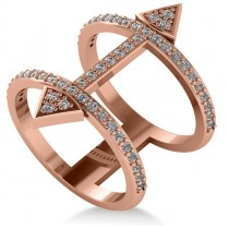 Abstract Arrow Ring with Diamond Accents 14k Rose Gold (0.55ct)