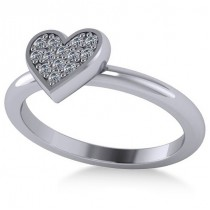 Diamond Heart Fashion Ring 14k White Gold (0.13ct)