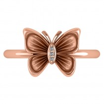 Diamond Butterfly Fashion Ring 14k Rose Gold (0.02ct)