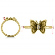 Diamond Butterfly Fashion Ring 14k Yellow Gold (0.02ct)