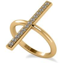 Vertical Diamond Studded Bar Ring 14k Yellow Gold (0.26ct)