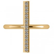 Vertical Diamond Studded Bar Ring 14k Yellow Gold (0.26ct)