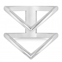 Double V Chevron Fashion Ring 14K White Gold