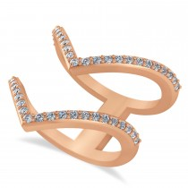 Diamond Double V Chevron Fashion Ring 14K Rose Gold (0.51ct)