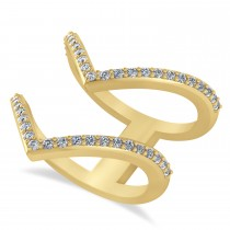 Diamond Double V Chevron Fashion Ring 14K Yellow Gold (0.51ct)