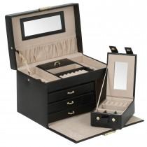 Wolf Hertiage Women's Mirrored Jewelry Box 3 Drawers Key Lock Removable Travel Case