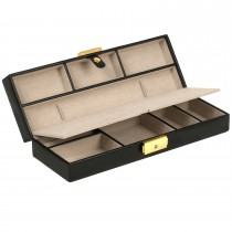 WOLF Heritage Long, Sleek Jewelry Box in Black Faux Leather with Key Lock Closure