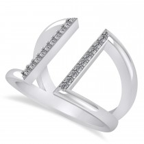 Diamond Double Bar Fashion Ring 14K White Gold (0.18ct)