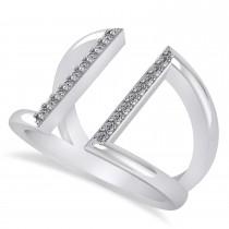 Diamond Double Bar Fashion Ring 14K White Gold (0.18ct)