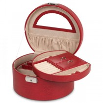 Wolf Heritage Women's Round Red Faux Leather Jewelry Box w/ Mirror Travel Organizer
