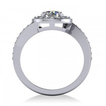 Round Diamond Halo Engagement Ring 14k White Gold (1.40ct)