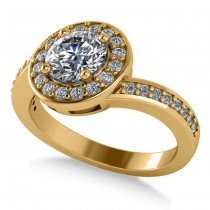 Round Diamond Halo Engagement Ring 14k Yellow Gold (1.40ct)