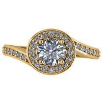 Round Diamond Halo Engagement Ring 14k Yellow Gold (1.40ct)