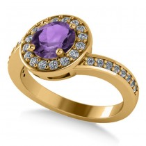 Round Amethyst Halo Engagement Ring 14k Yellow Gold (1.40ct)