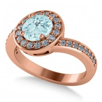 Round Aquamarine Halo Engagement Ring 14k Rose Gold (1.40ct)